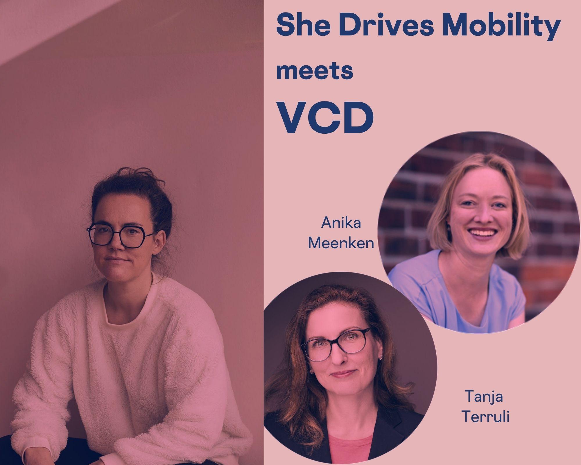 Auf dem Bild siehst du Anika Meenken, Tanja Terruli und mich. Verkehrsclub Deutschland zu Kindermobilität und Städten mit Lebensqualität.